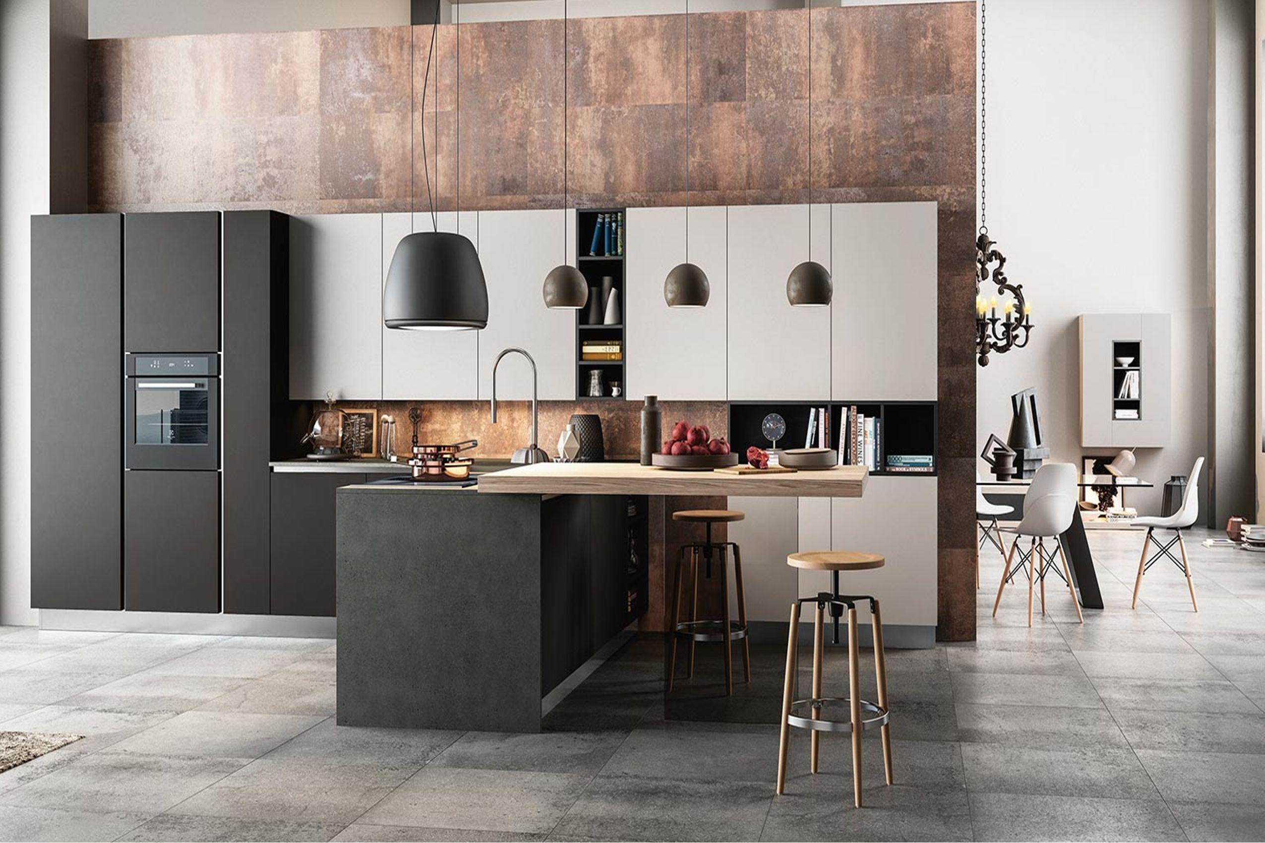 Cucine a parete con penisola moderne for Cucine moderne con penisola